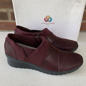 Clarks Caddell Denali burgundy slip on shoes Women's size US 11 N narrow New