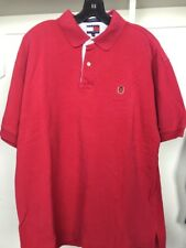 Vintage Tommy Hilfiger Short Sleeve Polo Red Solid Lion Crest Stripe Men Sz L