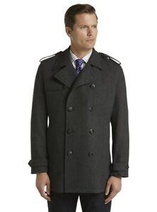 Jos. A. Bank Men's Herringbone Double Breasted Overcoat Large NWT Charcoal L