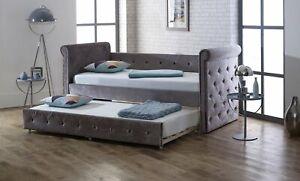 Plush silver velvet trundle bed ARVO - day/guest bed bedframe