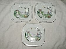 A Lot of 3 1930's Hand painted Farmhouse Scene English Bone China Butter Plates