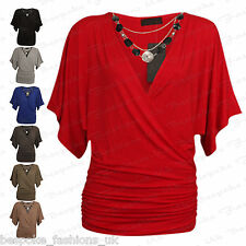 Ladies Women's Wrap Over V Neck Batwing Stretch Top & Necklace Plus Sizes 16-22