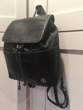 RALPH LAUREN Soft Black Leather Medium Backpack Carryall Bag GREAT 🌺
