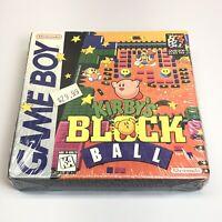 NEW Kirby's Block Ball (Nintendo Gameboy, 1996) Hang Tab RARE Factory Sealed