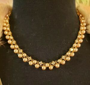 """STERLING SILVER Champagne Faux Pearl & CZ 18"""" Gold Plated Necklace, TOGGLE Clasp"""