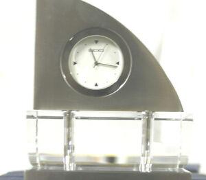 Seiko QHG017SLH Mantel Crystal & Sanles Steel Desk Clocks