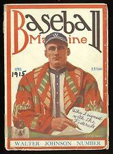 1915 Walter Johnson Front Cover Baseball Magazine Washington and Federals