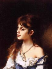 Stunning Oil painting Alexei Harlamoff - The Young Model - Nice young girl