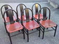 lot 6 chaises design ANNIG SARIAN bois noir cuir CHAIR WOOD LEATHER SEDIE italy
