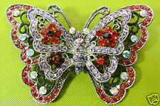 XL Silver tone metal Multi Crystal Red pink Aurora stones Butterfly pin brooch
