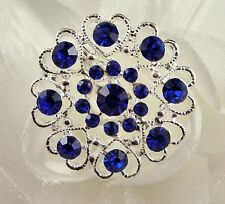SILVER TONE HEART FLOWER ROYAL BLUE RHINESTONE CRYSTAL BROOCH