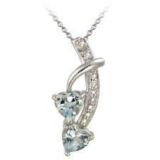 "925 Silver 1.8ct Blue Topaz & Diamond Double Heart Pendant, 18"""