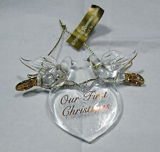Roman Inc Our First Christmas Glass Gold Heart Doves Birds Holiday Ornament