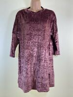 BNWOT ZARA dark pink crushed velvet mini slouch loose fit dress size M 12