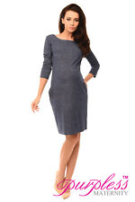 Purpless Maternity Denim LOOK Pregnancy Tulip Dress Top Tunic With Pockets 6100 Jeans UK 10