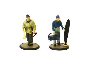 Tin metal soldier 2x German officer 1945 WW II 5.5 cm 1/32 solid tin figurine