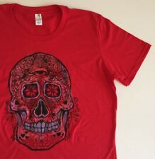 Handmade painted Unique Sugar Skull Men's Women's Tee Large Medium Graphic Coco