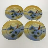 """Adorable Hand Painted 5 1/4"""" Plates Red Bird On A Branch Scene Porcelain"""
