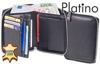 Platino Geldbörse mit Metall-Reißverschluss aus bestem Nappa-Leder in Schwarz