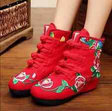 Womens Floral Ankle Boots Wedge Heels Warm Shoes Chinese Style Embroidery G414