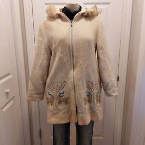 Vintage Canadian Sportswear Cream 100% Virgin Wool Parka Hooded Jacket Size 12
