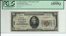"1929 $20 NBN CHARTER #4427  ""THE FIRST NB OF HOQUIAM WASHINGTON""  PCGS  VF-25PPQ"