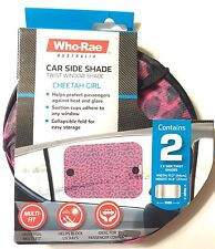 Car Shades Side Window Pink Cheetah Sun Protection Toddlers Baby USA Seller
