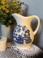 Gorgegous Vintage Large Willow Pattern Jug/Pitcher/Vase #3671
