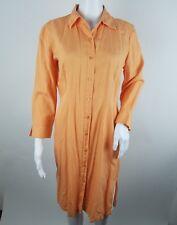 Newport News Womens Dress Size 8 Silk Blend Button Front Long Sleeve Orange