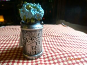 "NEW BLOSSOM BUCKET ""IT'S GOOD TO BE HOME"" SILVER CANISTER WITH BLUE FLOWERS"