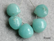 Natural Blue Amazonite Faceted Heart Briolette Semi Precious Gemstone Beads 002