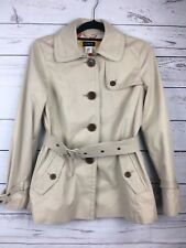 J. Crew Light Ivory Trench Coat short tie belt Jacket Size 4