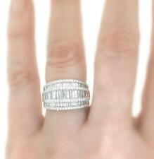 Diamond Anniversary Ring 3.05ct Baguette 18k White Gold 13mm Band