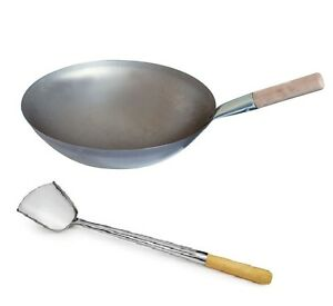 """Chinese Wok 16"""" Iron Pan with Handle & Turner Frying Skillet Cooking"""