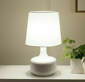 Mid Century style Metal 3-way Touch On Powder WHITE Table Lamp 17.5in H