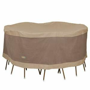 Duck Covers Elegant Water-Resistant 90 Inch Round Patio Table & Chair Set Cover