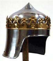 MEDIEVAL MONARCH KNIGHT King Richard Lionheart Two Tone CROWN HELMET ARMOR