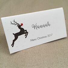 10 Handmade Personalised Christmas Name Place Cards Rudolph Reindeer Glitter