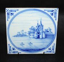 18th Century Antique Dutch Delft Tile - Castle Scene - vgc