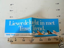 STICKER,DECAL TRAVEL TREND LIEVER DE LUCHT IN MET KLM PAN AM ETC LARGE IS FOLDED