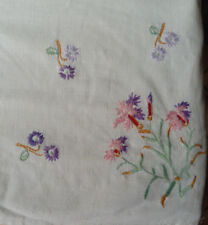 Vintage Hand Made, Hand Embroidered Tea Table Cloth, Embroidered To Four Corners