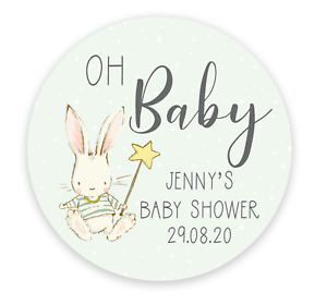 24 Personalised Baby Shower Stickers - Blue, Pink or yellow - Oh Baby - Boy Girl
