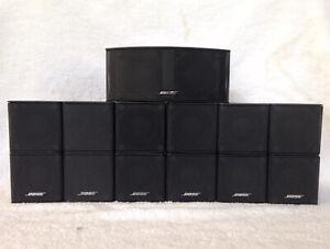 7 Bose Jewel MINT Double Cube Speakers 1 Center Channel 6 Surround Black 7.1/7.2