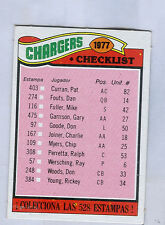 1977 Topps Mexican # 224  SAN DIEGO CHARGERS  Team Checklist  ngs