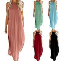 Women Boho Long Maxi Dress Sleeveless Summer Casual Baggy Kaftan Tunic Plus Size