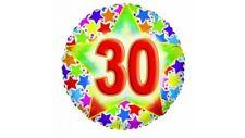 """PALLONCINO COMPLEANNO 30 ANNI TONDO 18"""" 45 cm diametro MYLAR FOIL FESTA PARTY"""