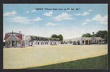 Chicago Heights-Illinois-Long's-Diner-Sinclair Gas Station-Linen Postcard
