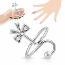 Ribbon Multi Paved Gems Adjustable Rhodium Plated Brass Nail Ring