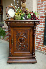 SLIM Antique French Carved Tiger Oak Jam Cabinet -Wine Liquor-Renaissance