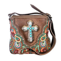 Montana West Embroidered Purse Turquoise Cross Western Paisley Crossbody Bag